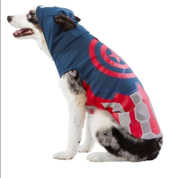 Marvel Other Marvel Captain America Halloween Pet Dog Costume Poshmark Wedding dog harness, pet clothing, dog harness vest, dog harness dress, dog dress, dog clothing, crochet dog vest, bubadog this dog harness is made out of cream cotton fabric and has two beautiful handmade roses on it's back. poshmark